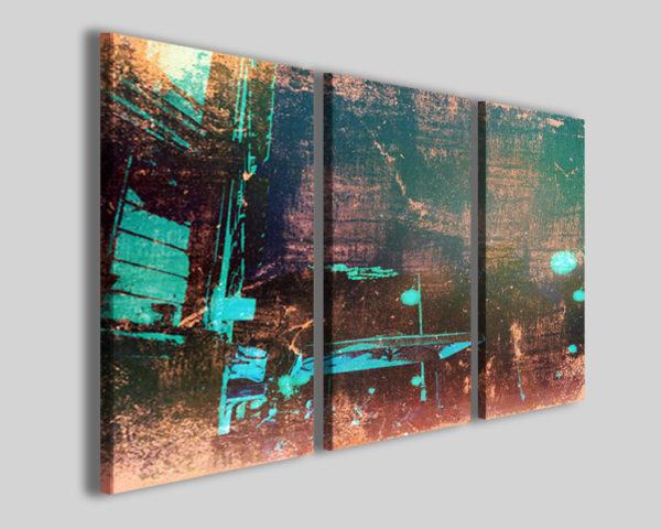 Quadri astratti Bade city trittico su tela stampa