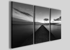 Quadri bianco e nero Verso l'infinito stampa su tela immagini pontile mare