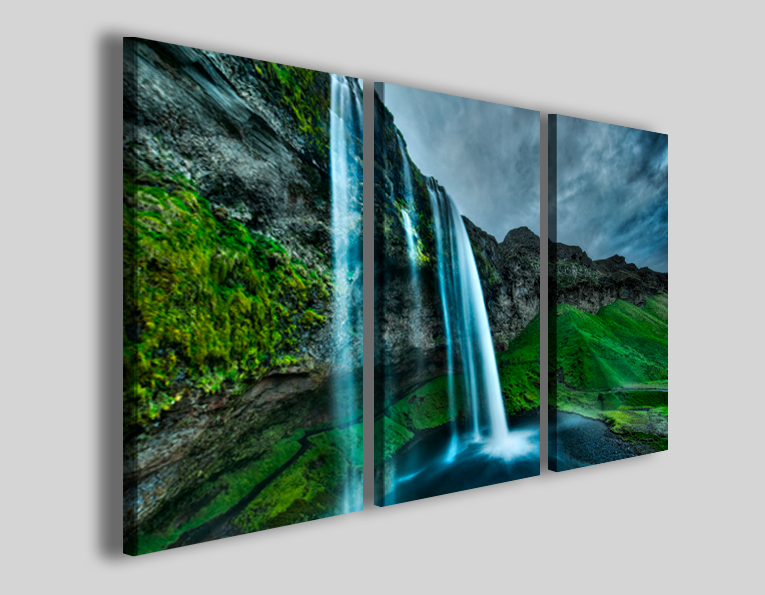 Quadri moderni paesaggi Iceland waterfall stampe canvas
