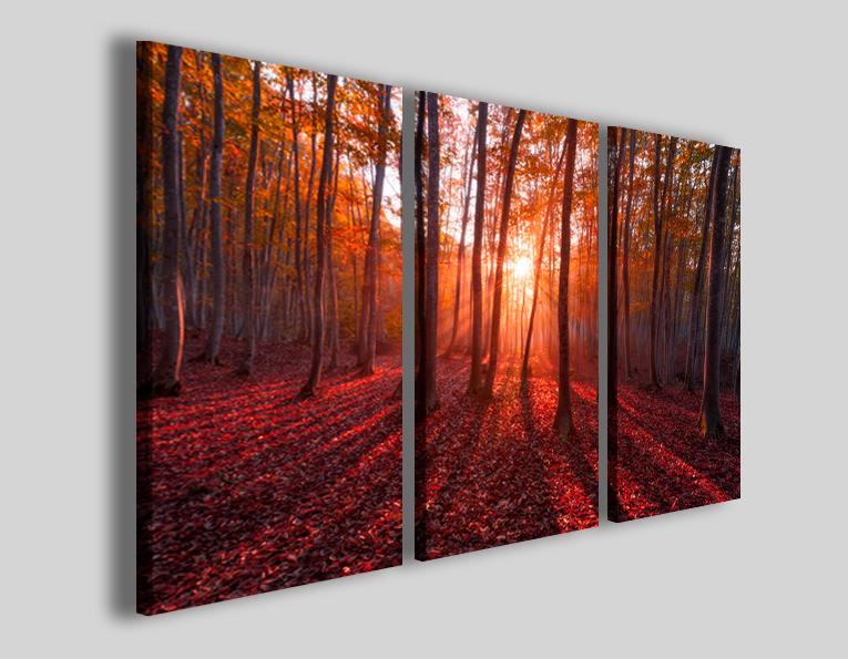 Quadri moderni paesaggi Warm trees stampa canvas