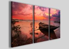 Stampe su tela moderne Wooden boat barca fiume lago quadri decoro parete