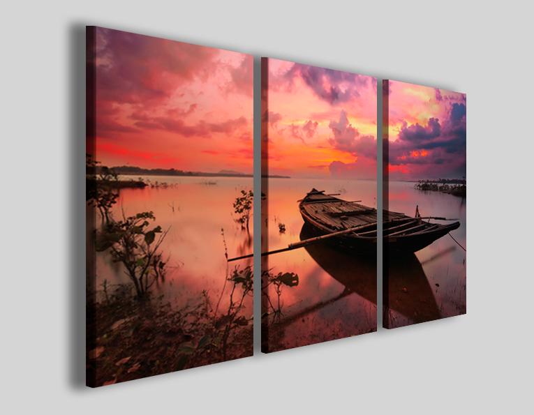 Quadri moderni paesaggi Wooden boat stampe canvas