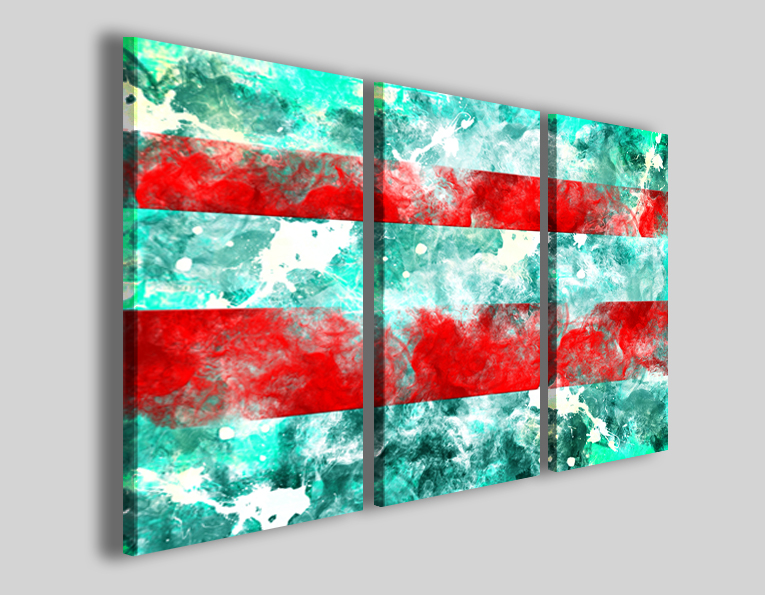 Quadri astratti Abstract two red banded stampe astratte moderne ...