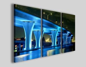 Quadri città Blu neon bridge ponte di sera stampe