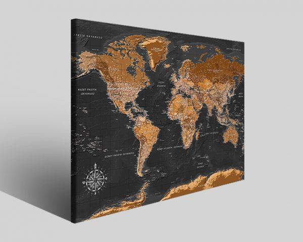 Stampe su tela Black map mappa del mondo