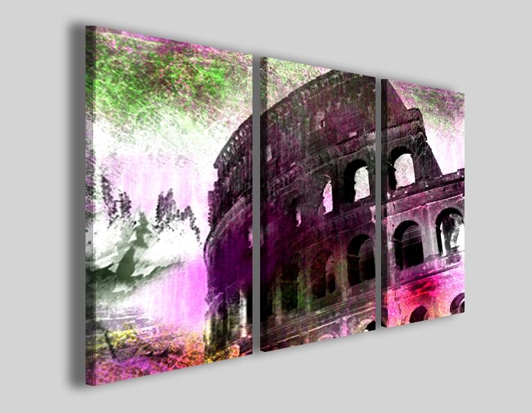 Quadri astratti Colosseo background colors stampe roma