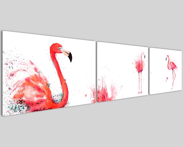 Quadro su tela Flamingo Q3 stampa fenicottero panoramica