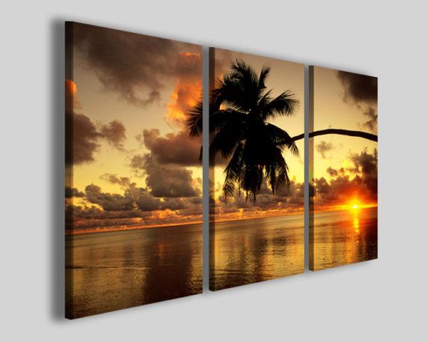 Quadri moderni Palme retroback sun stampe mare