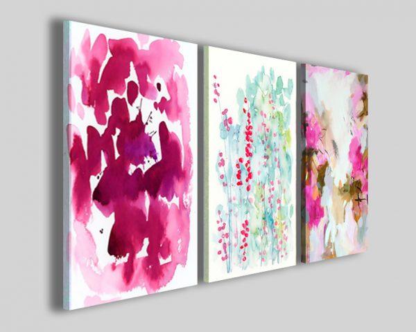 Quadri astratti Pink floreal stampe fiori