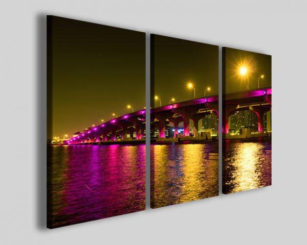 Quadri Miami neon bridge stampa su tela skyline