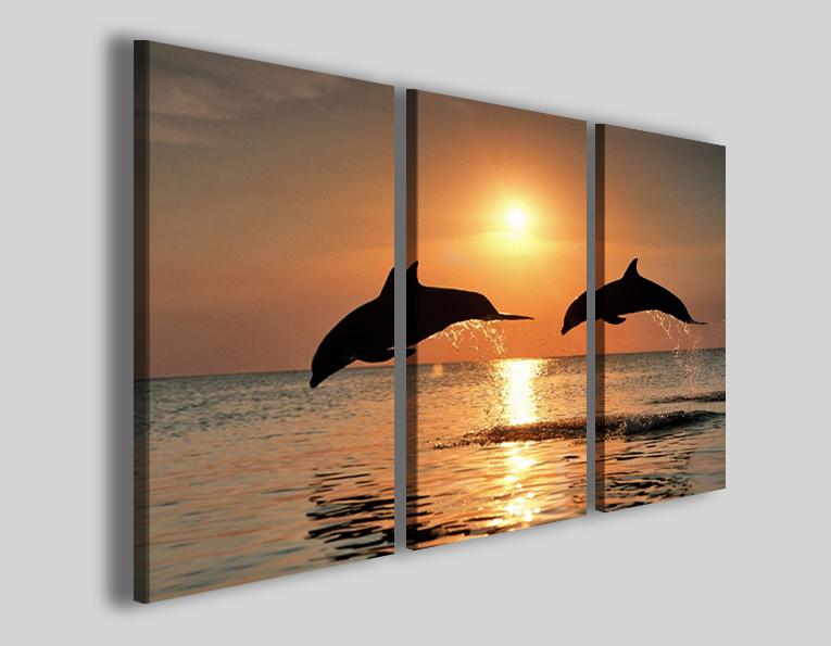 Quadri delfini Two delphin stampe tramonto mare