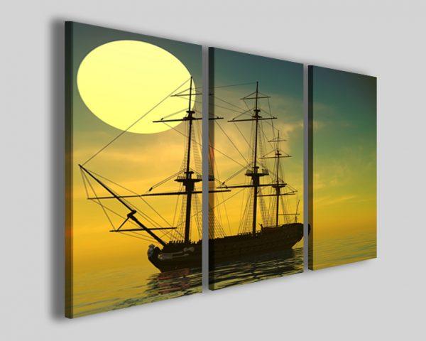 Quadri veliero Old ship sail stampe tramonto barca