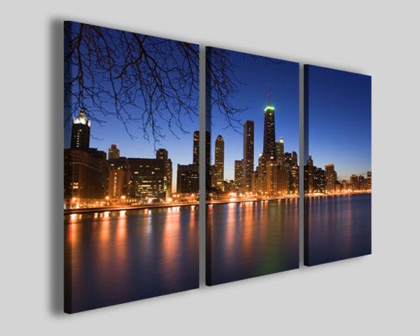 Quadro Chicago by night stampa su tela
