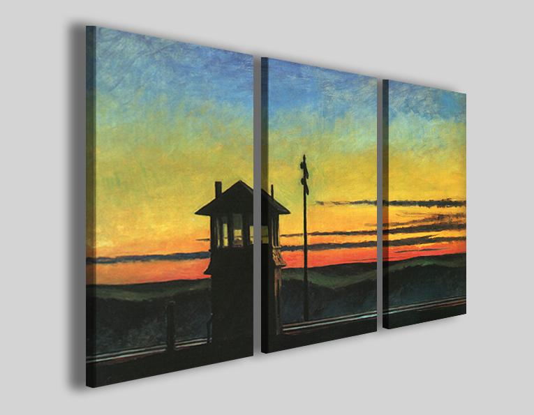 Quadro Hopper Edward Ferrovia al tramonto riproduzione