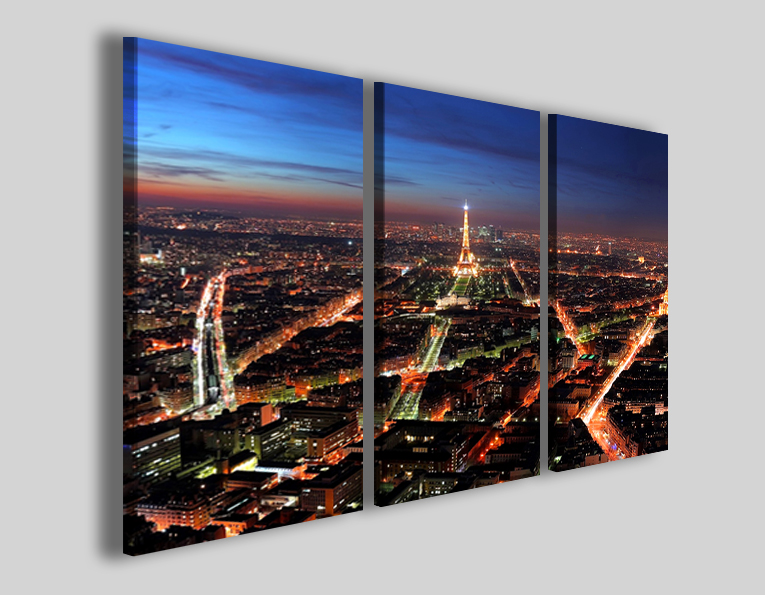 Quadro città Paris night light vision stampa Parigi