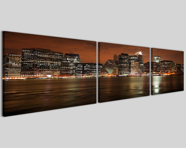 Quadro moderno skyline Manhattan at night Q3 stampa su tela