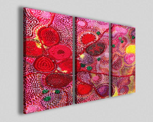 Quadri astratti kurkante II stampe canvas rosso giallo mosaico