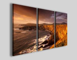 Quadri paesaggi Line rocks coast stampa tramonto
