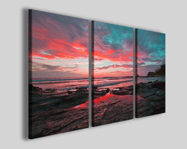 Quadro tramonto Marmorean beach stampa su tela