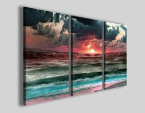 Quadri su tela tramonto Sea combat nube stampe canvas