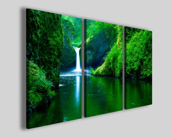 Quadro su tela Small waterfalls in green stampe canvas